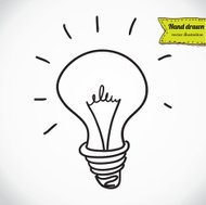 Doodle style light bulb or idea symbol sketch in vector