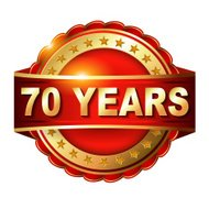 70 years anniversary golden label