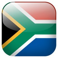 South Africa national flag square button isolated on white backg