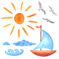 Watercolor set sun, clouds, waves, yacht, bird seagull  isolated