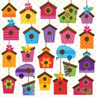 Vector Set of Cute and Colorful Bird Houses