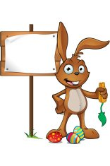 Rabbit Standing Next To Wooden Sign
