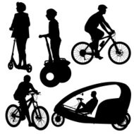 Set silhouette of a cyclist.
