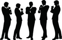 business people standing silhouette