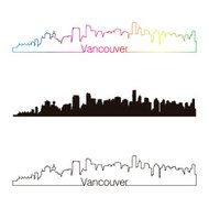 Vancouver skyline linear style with rainbow