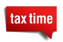 Tax time red 3d realistic paper speech bubble
