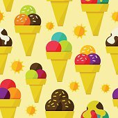 Seamless background with ice-cream vector illustration
