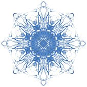 Decorative round blue lace pattern. Winter, snowflake, star