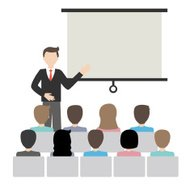 businessman doing a presentation vector