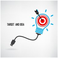 Creative light bulb and target concept background