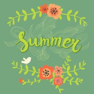 Summer card with bird and flowers
