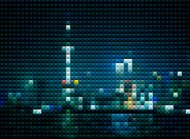 abstract mosaic style Shanghai skyline in night background