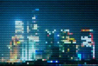 abstract mosaic style city in night background