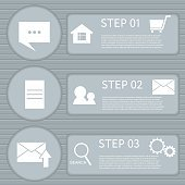Circle paper infographic with striped backdrop and web icons