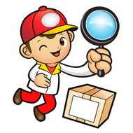 Red Delivery Man mascot examine a with a magnifying glass