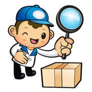 Blue Delivery Man mascot examine a with a magnifying glass