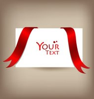 Beautiful cards with red bows and ribbons, vector illustration.