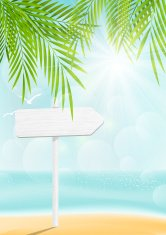 Sunny tropical background with wooden sign
