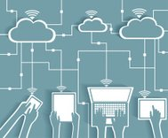 Cloud Computing Paper Cutout Stickers BYOD Devices Network
