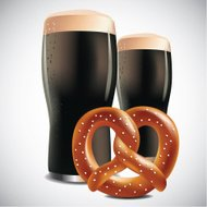 Dark beers with soft pretzel
