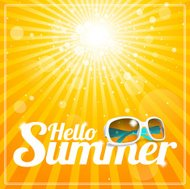 Hello Summer poster with cool white sunglasses and glorious suns