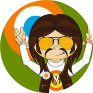 Peace Sign Hippie in Sunglasses