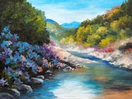 Oil Painting - mountain river, flowers near the rocks, forest