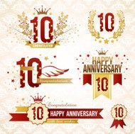 Set of 10th anniversary emblems.