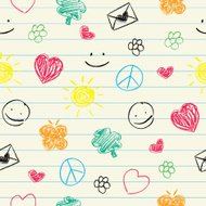 Happy doodles seamless pattern