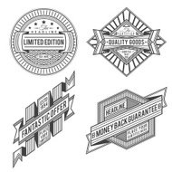 collection of retro vintage style labels and banners