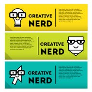 Nerds banner icon set with funny faces in glasses.