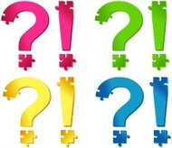 Colored puzzle question and exclamation marks