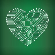 Heart Circuit Board royalty free vector art background