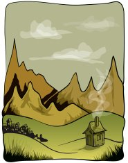 Mountains and Hut