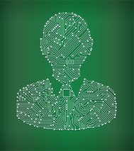 Human Head Circuit Board royalty free vector art background
