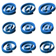 Nine blue icons e-mail
