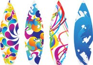 abstract multiple water surf board