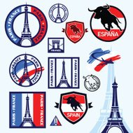 Travel stamps Paris and Spain
