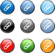 paper clip royalty free vector Icon/button set in 9 color