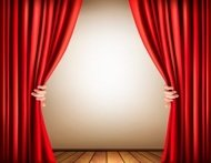Background with stage and a curtain. Vector.