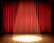Theater stage with a red curtain and spotlight. Vector.