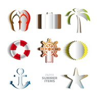 Paper Vector summer poster set made from papercut icons