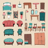 Furniture and home accessories icons set