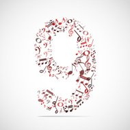 Vector number nine made from music notes.