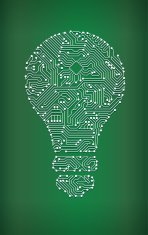 Lightbulb Circuit Board royalty free vector art background