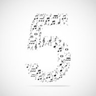 Vector number five made from music notes.