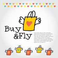 Sign Buy and Fly: paper shopping bag with wings, hearts,