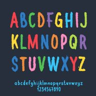 Multicolored Letters and Numbers with Ragged Edge