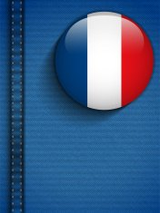 France Flag Button in Jeans Pocket