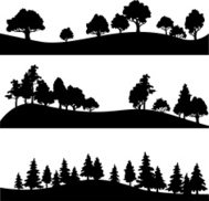 set of different landscape with trees